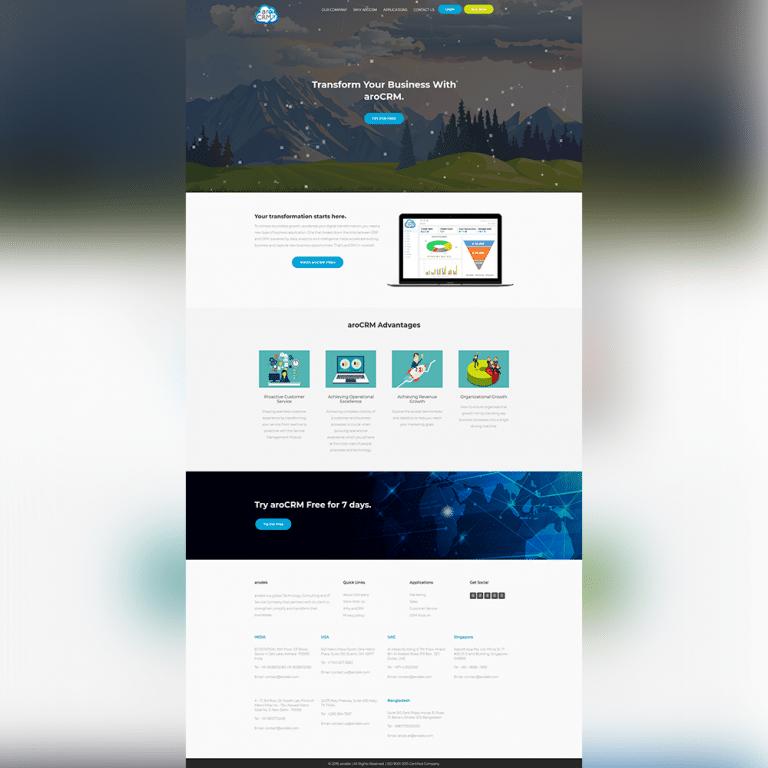 AroCRM Website - Atanu Das - Elementor Pro Expert