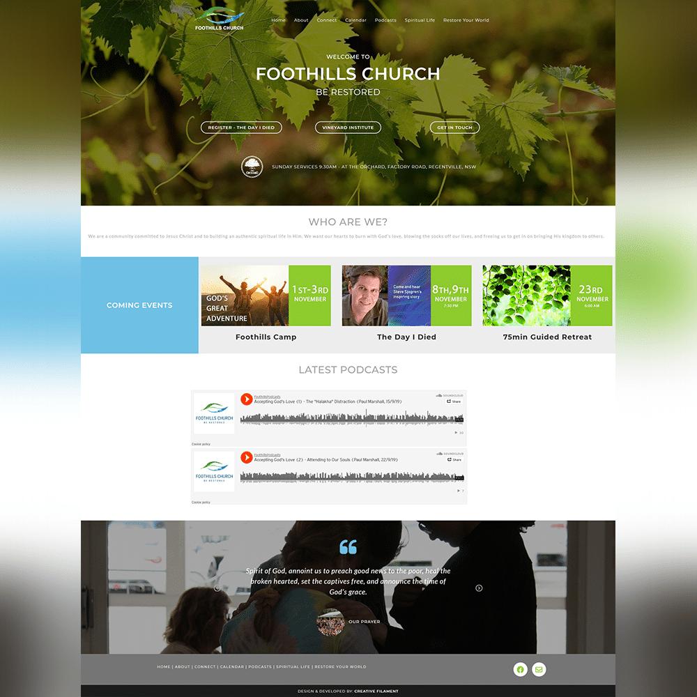 Foothills Church Website - Atanu Das - Elementor Pro Expert